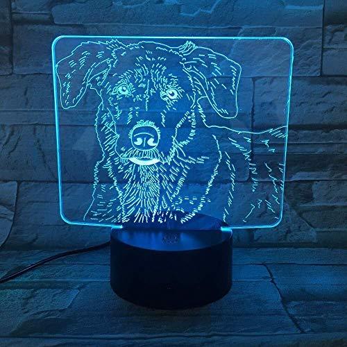 Luz de noche pequeña 3D Led Lindo perro Labrador Luz de noche pequeña Bebé Animal Luz Decoración del hogar Lámpara de mesa Regalo de Navidad para niños Lámpara tridimensional para niños