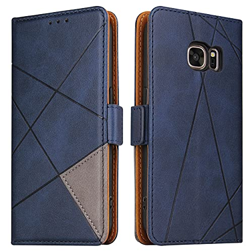 BININIBI Hülle für Samsung Galaxy S7, Klapphülle Handyhülle Schutzhülle für S7 Tasche, Lederhülle Handytasche mit [Kartenfach] [Standfunktion] [Magnetisch] für Samsung Galaxy S7, Blau