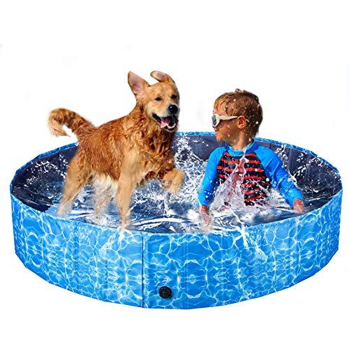 XIAPIA Piscina Perros Grande Bañera Plegable, Piscina para Niños, Piscina Perros Rigida Piscina Hinchable y Desmontables Portatil, Regalo para Mascotas (160 * 30cm)