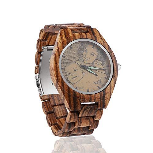 Reloj de Pulsera Personalizado con Foto Reloj de Pulsera de Madera Natural para Hombre, Personalizado con Cualquier Imagen y Mensaje.