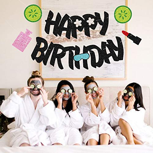Yvokii Spa Happy Birthday Banner, Cosmetics Theme Party Decor Sparkle Makeup Backdrop Holiday First Sweet 16th Birthday Decorations Supplies