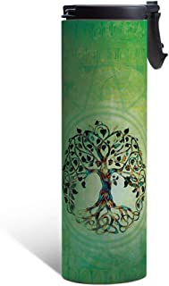 Tree-Free Greetings Tree of Life Vacuum Insulated Travel Coffee Tumbler, 17 Ounce Stainless Steel Mug, Beautiful New Age Gift, Green (BT21951)
