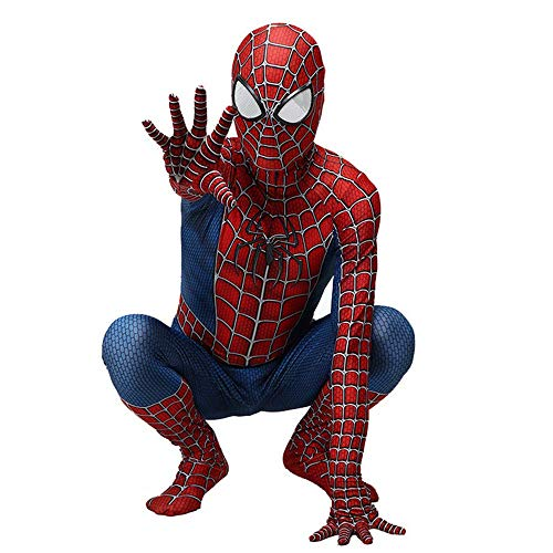 RNGNBKLS Kind Erwachsene Spiderman Homecoming Kostüm Halloween Karneval Cosplay Spiderman Anzug Spandex/Lycra 3D Druck Spiderman Verkleidung,Child-XL
