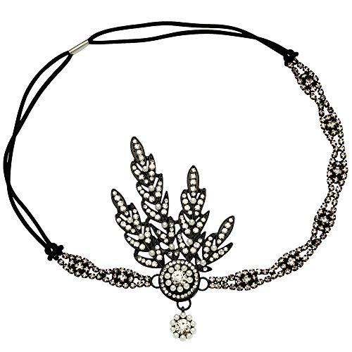 Art-déco-Haarband im Stil der 1920er, Flapper-Stil/Great Gatsby inspiriertes Blattmedaillon mit Perlen, Stirnband/Haarband/Tiara, zur Hochzeit Gr. Einheitsgröße, schwarz