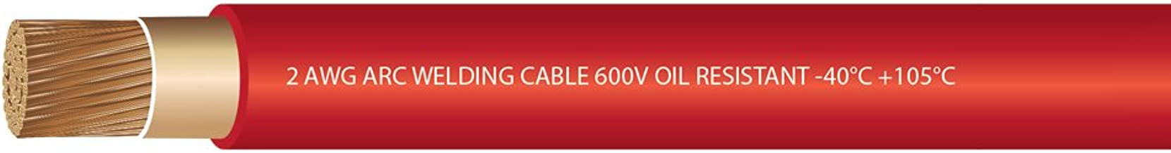 EWCS 2 Gauge Premium Extra Flexible Welding Cable 600 VOLT - Red - 20 Feet - Made in the USA