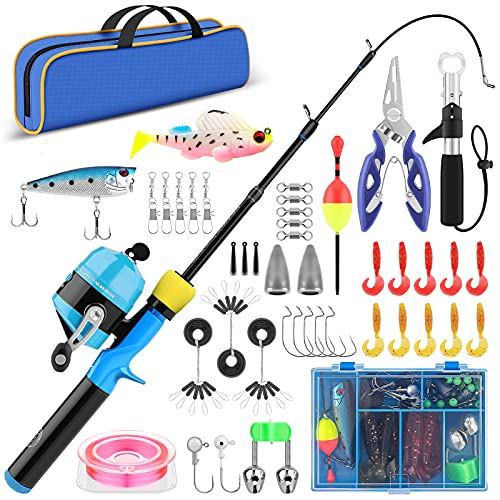 Kids Fishing Pole with Tackle - 3.9Ft Telescopic Fishing Rod and...