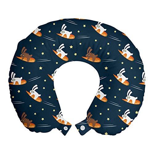 ABAKUHAUS Kinderen Reiskussen, Konijnen Het vliegen op Wortel, Reisaccessoire met Geheugenschuim voor Vliegtuig en Auto, 30 cm x 30 cm, Petrol Blue Orange