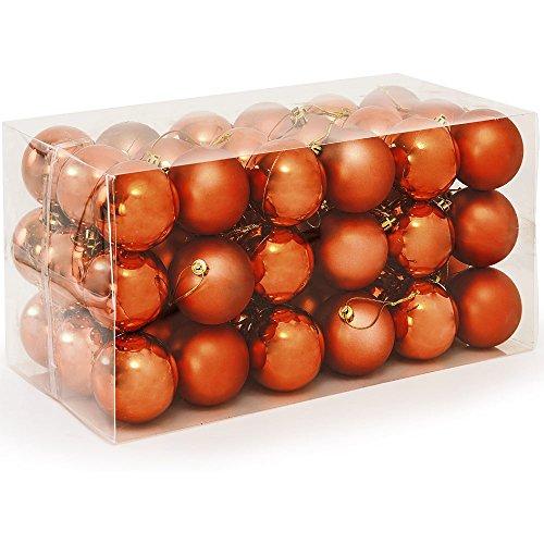 Deuba Set de 54 Bolas de Navidad Cobre Adornos para el árbol de Navidad Ø 6 cm Brillantes Mates con Colgantes...