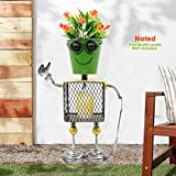Flower Pot Robot Style Statue Rustic Metal Planter 18.1' Tall, Iron Flower Pot Holder for Plants Indoor Outdoor Lawn Home Office - Unique Housewarming Gift (Robert)