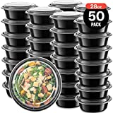 50-Pack meal prep Plastic Microwavable Food Containers Bowls for meal prepping with Lids (28 oz.) Black Reusable Storage Lunch Boxes -BPA-Free Food Grade -Freezer & Dishwasher Safe. - PREMIUM QUALITY