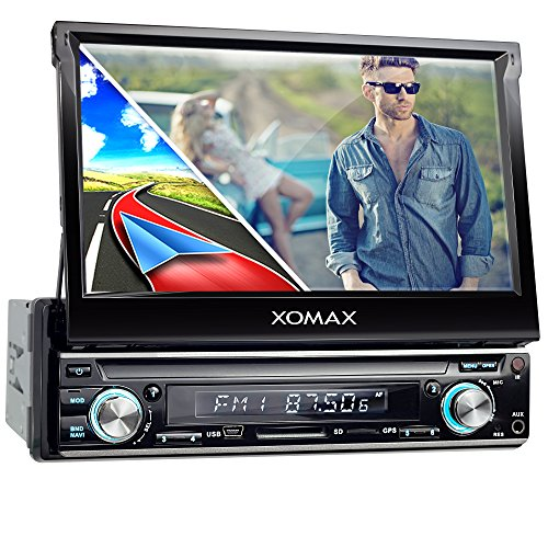 XOMAX XM-VRSUN740BT Autoradio mit GPS Navigation I Bluetooth I 7 Zoll / 18 cm Touchscreen Bildschirm I USB, SD, AUX I Anschlüsse für Subwoofer, Rückfahrkamera und Lenkradfernbedienung I 1 DIN