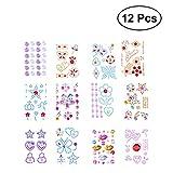 TOYMYTOY 12 Blätter Edelsteine Aufkleber, selbstklebende Glitter Strass Sticker für Kinder...