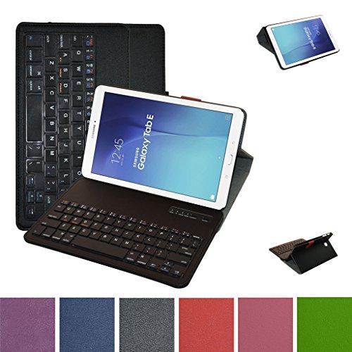 "Samsung Galaxy Tab E 9.6 Bluetooth Tastiera Custodia,Mama Mouth Staccabile Bluetooth Tastiera (layout inglese) custodia in PU di cuoio pelle caso Case per 9.6"" Samsung Galaxy Tab E 9.6 T560 T561 Android Tablet,Nero"