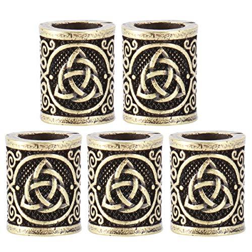 Lurrose haarbuis parels Viking Runen haarbaard parels vlechten charme voor DIY armbanden hanger halsketting sieraden Levert 5 stuks (zilver) Größe 1 bronskleurig