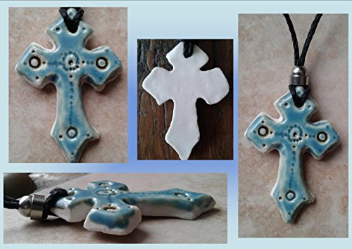 Celtic Cross Pendant Fine Porcelain Necklace Sea Turquoise Templar Cross Sacred Christian Ceramic Cross Symbol .2
