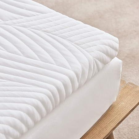 Sweetnight Sobrecolchón de espuma de gel de 120 x 200 cm para cama con somier y colchón, altura de 5 cm, 3 cm de espuma viscoelástica de 2 cm, funda ...