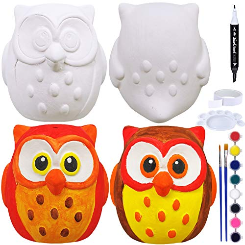 4 Sets DIY Ceramic Owls Figurines Paint Craft Kit Unpainted Bisque Ceramics PaintableOwls Ceramics Ready to Paint for Kids Fall Autumn Season Halloween Holiday at-Home Classroom DIY Craft Project