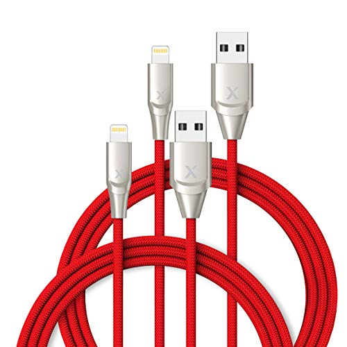 XCENTZ iPhone Charger 2 Pack 6ft, Apple MFi Certified Lightning Cable Fast Charger iPhone Cable, Durable Braided Nylon Metal Connector Charger Cord for iPhone X/XS Max/XR/8 Plus/7/6/5/SE, iPad, Red