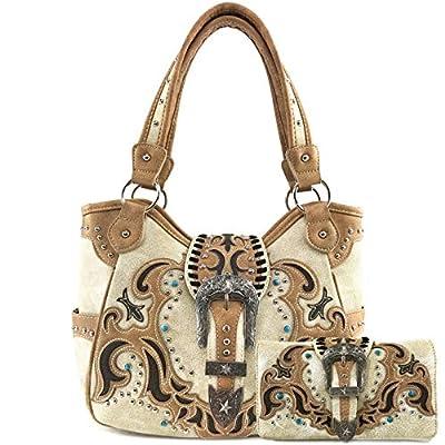Zelris Western Texas Longhorn Buckle Women Conceal Carry Tote Handbag Purse Set (Black)