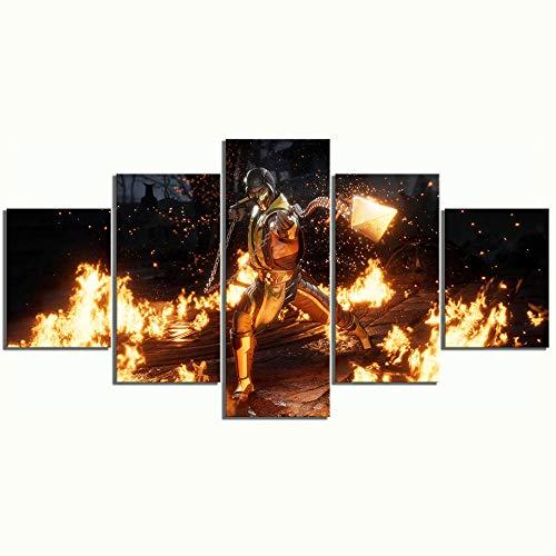MXLYR Póster de Lienzo Moderno decoración del hogar 5 Piezas Mortal Kombat Pintura de Pintura de Pared Imagen de Arte de Fondo de Dormitorio Obra de Arte