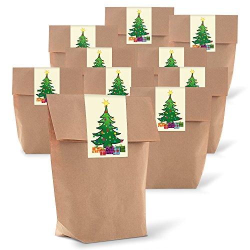 25 braune natur weihnachtliche Verpackung Geschenk-Tüten Kraftpapier + 25 Aufkleber Weihnachten BAUM grün gelb rot blau Weihnachtsverpackung Geschenk Kunden give-away Geschenkaufkleber