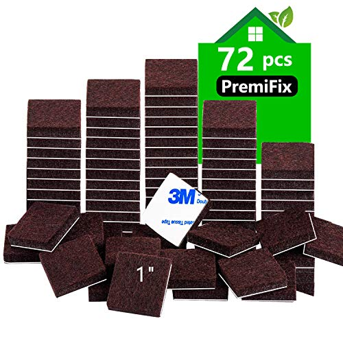 Felt Furniture Pads 1 inch 72 Pieces Pack Brown Square Self Adhesive Furniture Pads Anti Scratch Felt Pads for Chair Feet Heavy Duty 5mm Thick Floor Protector for Hardwood Floor