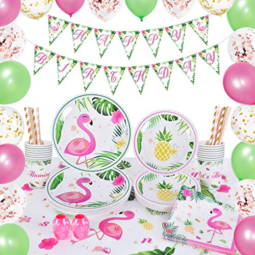 WERNNSAI Flamingo Party Zubehör Set - 105 PCS Tropische Luau Partydekorationen für Mädchen Geburtstag Banner Ballons Tischdecke Platten Tassen Servietten Strohhalme 16 Gäste