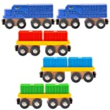 ORBRIUM 11 Pcs Intermodal Freight Trains Set for Wooden wood Railway Includes 2 Diesel Engines, 3 Container Flat Cars, 6 Shipping Containers Compatible with Thomas, Brio, Chuggington, Melissa and Doug