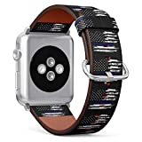 (Grunge Blue line Flag of United States) Patterned Leather Wristband Strap for Apple Watch Series 4/3/2/1 gen,Replacement for iWatch 42mm / 44mm Bands