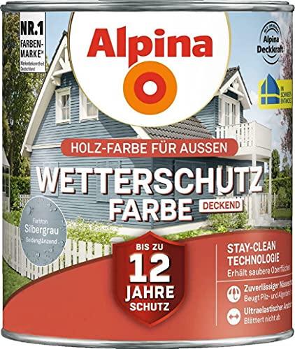 Alpina Wetterschutz-Farbe deckend 2,5 Liter Silbergrau