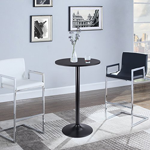 Furmax Bistro Pub Table Round Bar Height Cocktail Table Metal Base MDF Top Obsidian Table with Black Leg 23.8-Inch Top, 39.5-Inch Height (Black)