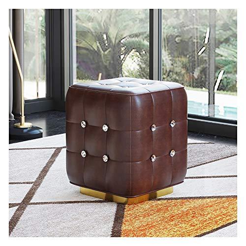 Taburete cuadrado para sofá, taburete de cuero, para sala, zapatero, puerta de casa, color #4