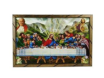 36 x24  Cuadro La Ultima Cena San Judas El Papa Marco de Madera Rustico para Colgar 2436R Hecho Mexico