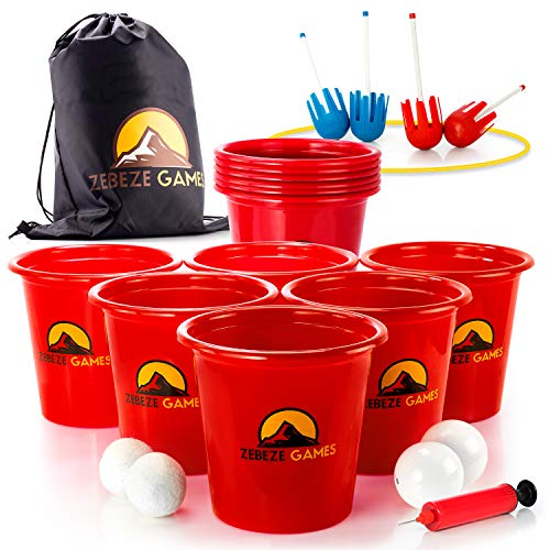 Yard Pong Outdoor Backyard Game Giant Pong Quality Set for Beach, Lawn, Pool Best BBQ Games Premium Beer Golf for Family & Friends 12 Buckets + 4 Balls + Pump Jumbo Size Beer Pong & Bonus