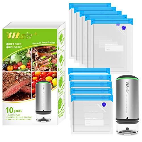 VMSTR Rechargeable Vacuum Sealer,Portable Handheld Cordless Food Vacuum Sealer For Sous Vide Cooking, Sous Vide Bags food Storage Set 10 PCS