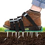 TONBUX Lawn Aerator Shoes 4 Adjustable Straps Heavy Duty Spiked Sandals Shoes...