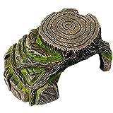 ZYYRT Tree Stump Reptile Hideout Resin Turtle Basking Platform Bearded Dragon Ledge Activity for Aquariums Terrariums Decoration Habitat Accessories