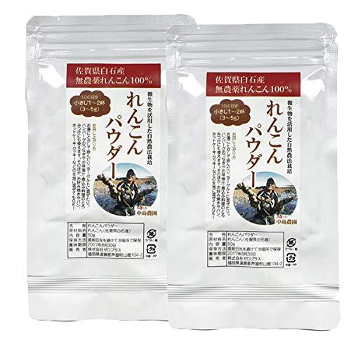 れんこんパウダー 100g 佐賀県白石産 無農薬レンコン100% 粉末 無添加 無着色