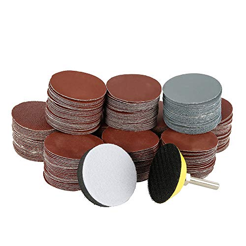 300pcs Sanding Discs Pads 2 Inch/50mm with 1/4 Inch Soft Foam Buffering Pad 80/180/ 240/320/ 400/600/ 800/1000/ 2000/3000 Grit