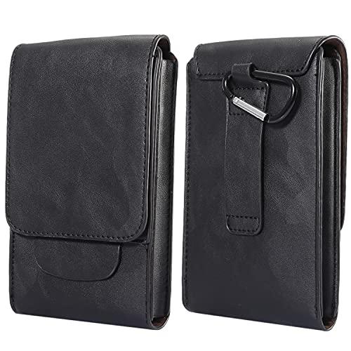 Riñonera para teléfono móvil con clip para hombre, color negro, 7,2 pulgadas, de piel sintética, universal, con clip para cinturón, pequeña riñonera