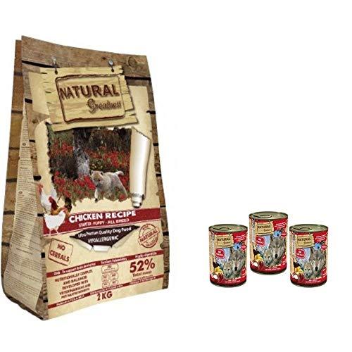 NATURAL GREATNESS - Pienso de Pollo para Perros Cachorros Hipoalergénico Sin Cereales - Saco 2 kg + 3 Latas Reno y Arenque con Yogurt ANIMALUJOS