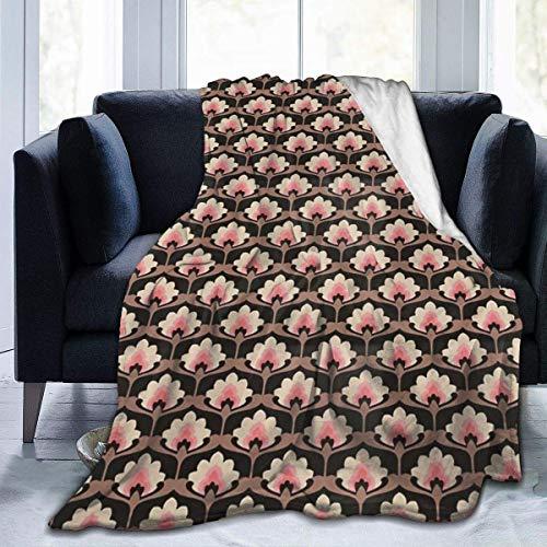 AEMAPE Manta de Tiro Floral Rosa mullida Alfombra para Silla Cama para Hombres Lujosa Alfombrilla para Dormir Cubierta de Franela para Invierno 50 'x 60'