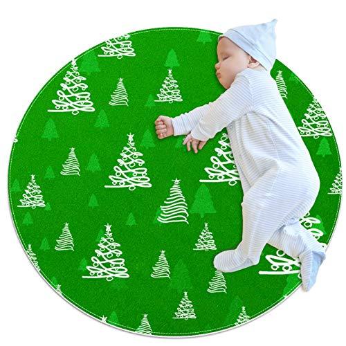 DEDEF Alfombra redonda para juegos de bebé, alfombra de gateo, manta para jugar en el suelo, diversión en el gimnasio, alfombra de juego para bebés y niños, alfombra redonda para Navidad