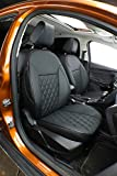Easeadd Premium Cuero Fundas de Asiento Compatible con Compatible con Ford Fiesta 2012 2013 2014 2015 2016 2017 3Puerta Zetec S,ST-Line,Sport - (Negro)