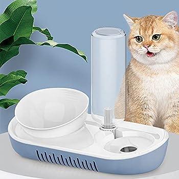 2 en 1 - Gamelle d'eau et de nourriture - Distributeur d'eau Automatique avec gamelle de Nourriture - Bol de Nourriture pour chats avec support surélevé (Bleu)