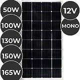 Monokristallin Solarmodul - 50 100 130 150 oder 165 W, 18 V für 12 V Batterien, Ladekabel - Photovoltaik Solarpanel, Solarladegerät, Solarzelle, Solaranlage für Wohnwagen, Camping, Balkon (130 W)