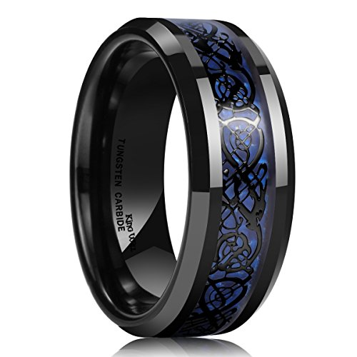 King Will DRAGON Men Tungsten Carbide Ring 8mm Silver/Blue/Black Celtic Dragon Wedding Band Polish Finish (Black, 9.5)
