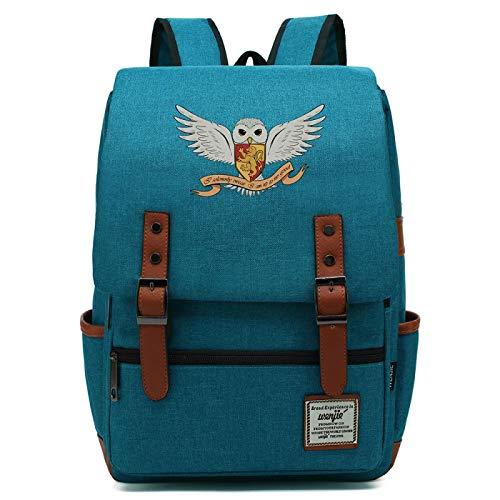 Gryffindor Hedwig bedruckter Rucksack, lässiger Teenager Hogwarts Schulrucksack, Reisewanderung Harry P Laptop Tablet L-16inch Typ-19