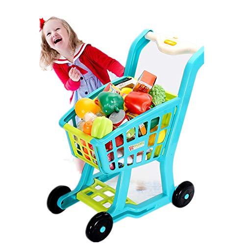 QuRRong Carrito de Compras de Juguetes De los niños de simulación a Gran supermercado Cesta de la Compra Conjunto de Cocina Frutas y Verduras Los Juguetes con luz y música para Niños y Niñas