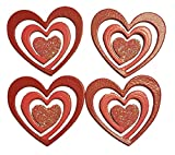 Embellish Your Story Pink and Red Glitter Heart Swirls Set of 4 Magnets 20011PK